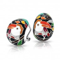 Love Collection In Toucan Sterling Silver Black/En White /Cz Earring