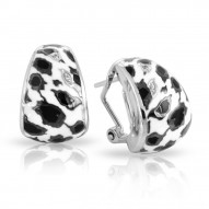 Leopard Collection In Sterling Silver White /Blk_White /Cz Earring