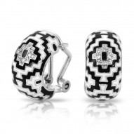 Aztec Collection In Sterling Silver Blk/White /En_White /Cz Earring