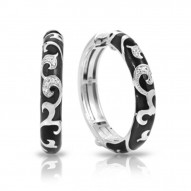Royale Collection In Hoops Sterling Silver Ena.Blk/Cz.White Earring