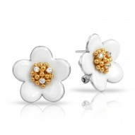 Daisy Collection In Chain Sterling Silver Rosegold_White En Earring