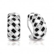 Harlequin Collection In Sterling Silver En_Blk/White _Cz Earring