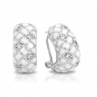 Harlequin Collection In Sterling Silver En_White /White _Cz Earring