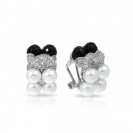 Prestige Collection In Sterling Silver Wht/ Pearl/Onyx/Wht/Cz Earring