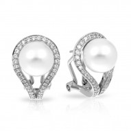 Claire Collection In Sterling Silver Wht/Pearl/Wht/Cz Earring