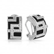 Piazza Collection In Sterling Silver Blkrub/Cz.White Earring