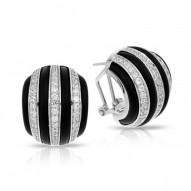 Intermezzo Collection In Sterling Silver Blk/Ru/White /Cz Earring
