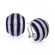 Intermezzo Collection In Sterling Silver Blue/Ru/White /Cz Earring