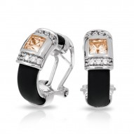 Celine Collection In Sterling Silver Blk/Ru/Champ/Cz Earring