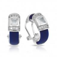 Celine Collection In Sterling Silver /Blue/Ru/ Milkstone/Cz Earring