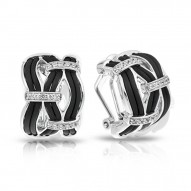 Riviera Collection In Sterling Silver Blk/En/White /Cz Earring