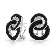 Unity Collection In Sterling Silver Blk/Ru/White /Cz Earring
