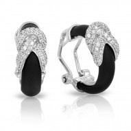 Ariadne Collection In Sterling Silver Rub.Blk/Cz.White Earring