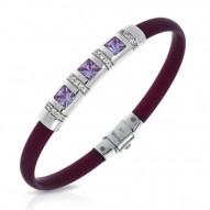 Celine Collection In Sterling Silver Plum/Ru/Amethyst/Cz Bracelet