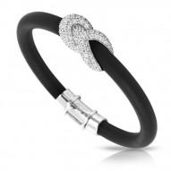 Ariadne Collection In Sterling Silver Rub.Blk/Cz.White Bracelet