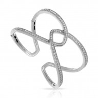 Duet Collection In Sterling Silver White/Cz Bangle