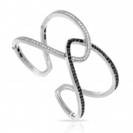 Duet Collection In Sterling Silver Whtblk/Cz Bangle
