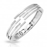 Fontaine Collection In Sterling Silver Cz.White Bangle