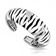 Tigris Collection In Sterling Silver Black/Whiteen/Cz Bangle