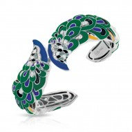 Love In Plume Collection In Sterling Silver Tur/Blueen/Cz.Black Bangle
