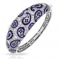 Koyari Collection In Sterling Silver Purple &Blue/En/White /Cz Bangle