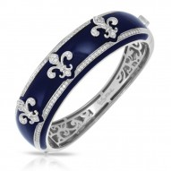 Fleur De Lis Collection In Sterling Silver Blue/En/White /Cz Bangle