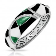 Tango Collection In Sterling Silver /Blk& White /En./Syn.Emerald Bangle