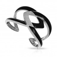 Amazon Collection In Sterling Silver Blk/En/White /Cz Bangle