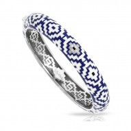 Aztec Collection In Sterling Silver Blue/White En_White /Cz Bangle