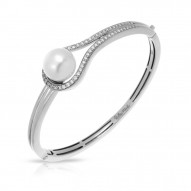 Claire Collection In Sterling Silver Wht/Pearl/Wht/Cz Bangle