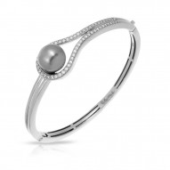 Claire Collection In Sterling Silver Grey/Pearl/Wht/Cz Bangle