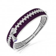 Roxie Collection In Sterling Silver Plum/Ru/White /Cz Bangle