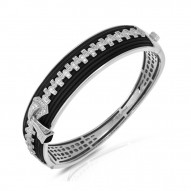 Roxie Collection In Sterling Silver Blk/Ru/White /Cz Bangle