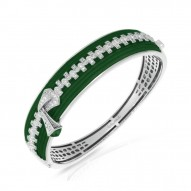 Roxie Collection In Sterling Silver Emerald/Ru/White /Cz Bangle