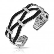 Riviera Collection In Sterling Silver Blk/En/White /Cz Bangle