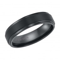 Black Tungsten Carbide Satin Finish Flat Center with Bright Step Edge Comfort Fit Band.