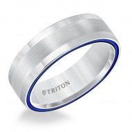 Dome White TungstenAIR Comfort Fit Band with Electric Blue Side Color Treatment & Center Line Satin Finish