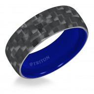 Domed Black Carbon Fiber TungstenAIR Comfort Fit Band with Electric Blue inside color & Bright Polish