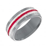 Gunmetal Grey Tungsten Carbide Band with Vertical Grooves, Fire Red Center Stripe & Satin Finish