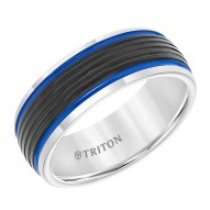 Black & White Domed Tungsten Carbide Band with Ribbed Center, Electric Blue Stripes and Bright Rims