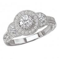 Triple Round Halo Complete Diamond Ring