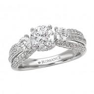 3-Stone Semi-Mount Diamond Ring