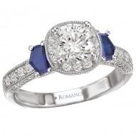 Sapphire and Diamond Round Halo Ring