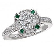 Tsavorite and Diamond Semi-Mount Ring
