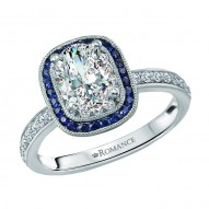 Halo Semi Mount Diamond and Gemstone Ring