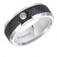 Flat Bevel Edge Black and White Diamond Tungsten Carbide band with Knurl Cut Center.