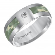 Tungsten Carbide Comfort Fit Band with Camo Inlay and Diamond Detail