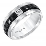 Limited Edition Two Tone Tungsten Carbide Band with Diamond Detail