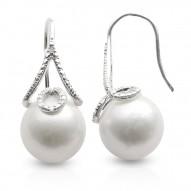 Fresh water and diamond fishhook earrings