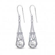 Windsor Pearl Earrings and diamond earrings